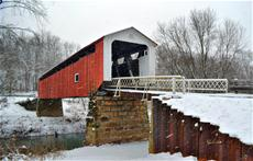 Snow At Hills Covered Bridge