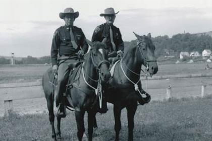 Two mounted deputies at the Washington County Fairgrounds